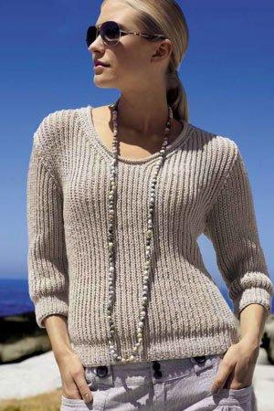 Knit Sweater In Shaker Rib Pattern Knitting Patterns By Lana
