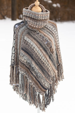 Knit poncho with cowl - knitting pattern by The Yarn Barn