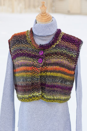 Knit Vest in Stockinette and Seed Stitch - knitting pattern for super bulky yarn