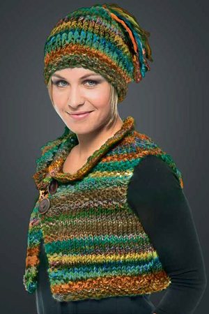 knit vest and hat