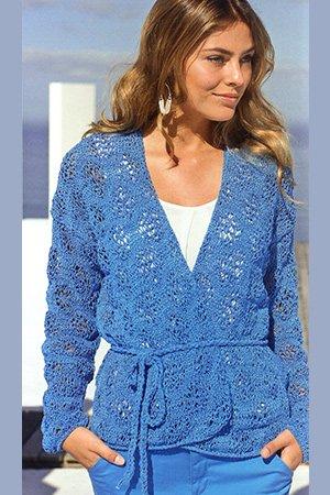 knit jacket in lace pattern