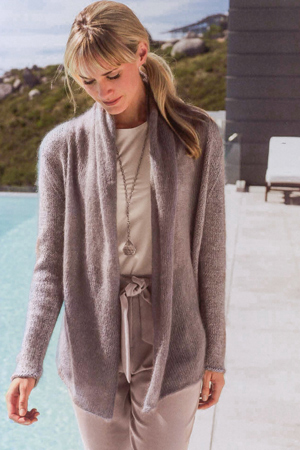knit jacket with shawl collar