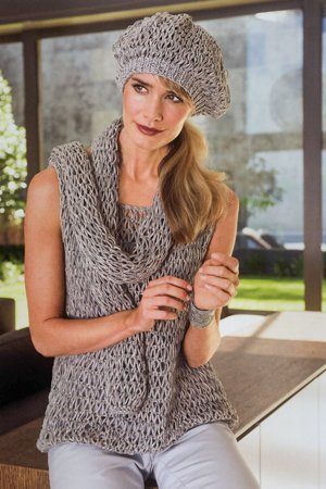 Knit pattern for top, scarf and beret in drop stitch pattern
