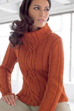 long sleeve sweater with centre cable