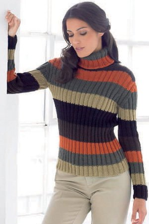 long sleeve sweater with turtle neck in rib pattern