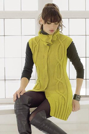 long knit vest with cable pattern