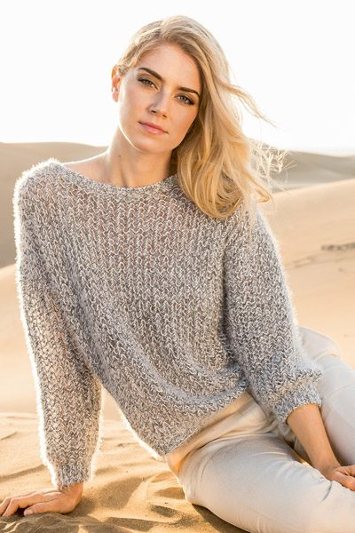knit pullover in openwork pattern - knitting pattern
