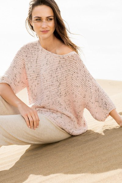 knit pullover with dropped shoulders - knitting pattern